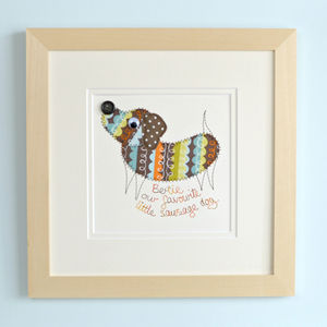 Personalised Dachshund Embroidered Framed Artwork - mixed media pictures for children