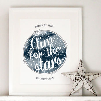 Midnight blue Aim For The Stars Print