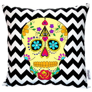 Day Of The Dead Geometric Chevron Cushion