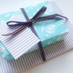 Double Sided French Stripe Gift Wrap Set - ribbon & wrap