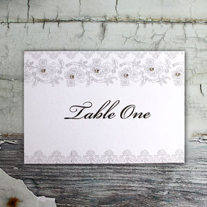 Lace Table Name Cards - table decorations