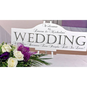 Large Personalised Wedding Sign & Easel - outdoor wedding signs
