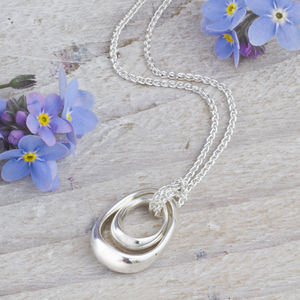 Solid Silver 'Spoons' Mother And Baby Necklace