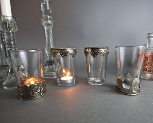 Four Moroccan Tea Glass Tealight Holders