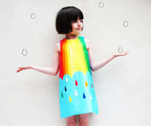 Girls Dress In Spectrum Print - rainbows