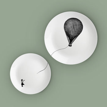 Girl With A Hot Air Balloon Bone China Plates