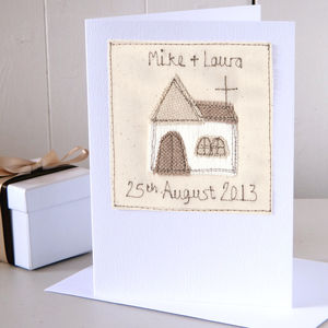 Personalised Embroidered Church Wedding Card - anniversary cards