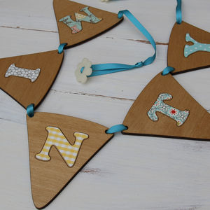 Personalised Vintage Inspired Wooden Bunting - bunting & garlands