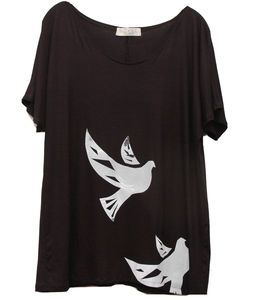 Doves Hand Printed Tee - women's fashion