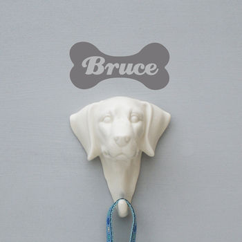 Porcelain Dog Hook And Personalised Wall Sticker
