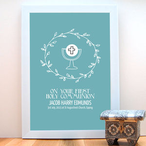 First Holy Communion Personalised Print - posters & prints for children