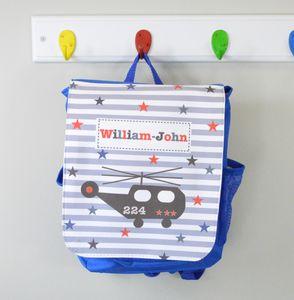 Boy's Personalised Helicopter Rucksack Nursery Bag - bags, purses & wallets