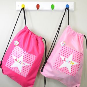 Girl's Personalised Spotty Waterproof Kit Bag - children's room