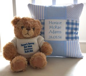 Personalised Name Cushion And Message Bear