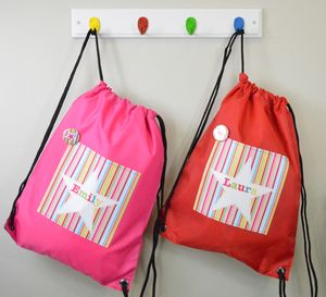 Girl's Personalised Striped Waterproof Kit Bag - storage bags