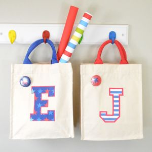 Child's Initial Mini Canvas Bag - children's parties