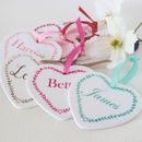 A Set Of Wedding Ceramic Heart Place Names And Favours