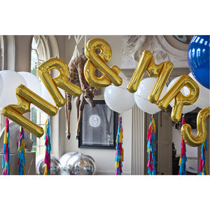 Mr And Mrs Jumbo Metallic Letters - decoration