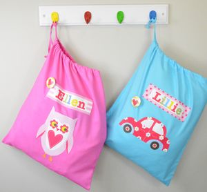 Girl's Personalised Storage Bags - children's room