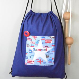 Boy's Personalised Cotton Kit Bag