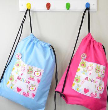 Girl's Personalised Apple Waterproof Kit Bag