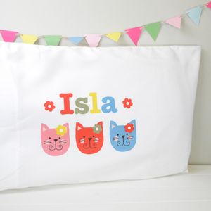 Girls Personalised Character Pillowcase Various Designs - children's room