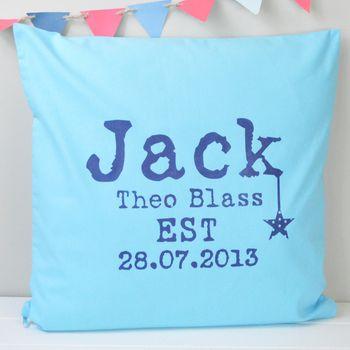 Boy's Personalised Birth Date Cushion