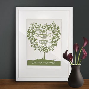 Personalised Family Heart Tree Print - art & pictures