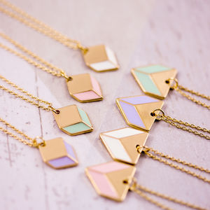 Enamel And Gold Geometric Necklace - pretty pastels