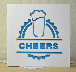 'Cheers' Laser Cut Beer Card - thank you cards