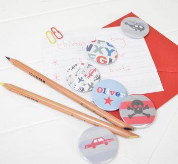 Boy's Personalised Magnets Or Badges Set