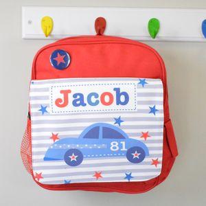 Boy's Personalised Car Mini Rucksack - personalised