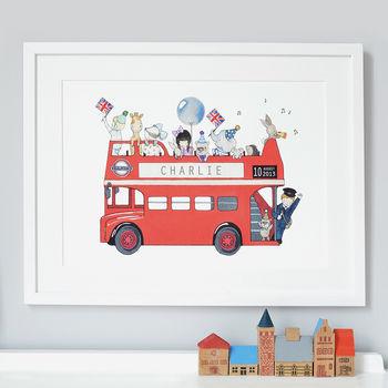 Personalised London Bus Nursery Print