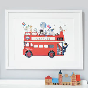 Personalised London Bus Nursery Print - mixed media & collage