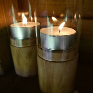 Glass And Wood Hurricane Lamp - lights & lanterns