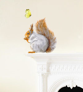 Squirrel Wall Sticker, Squirrel And Butterflies Set - children's room accessories