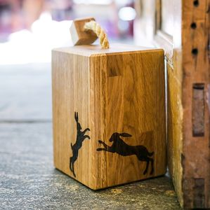 Solid Oak Boxing Hare Doorstop - door stops & draught excluders
