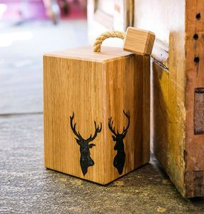 Solid Oak Stags Head Doorstop - door stops & draught excluders