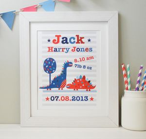 Boy's Personalised Dinosaur Framed Print - pictures & prints for children