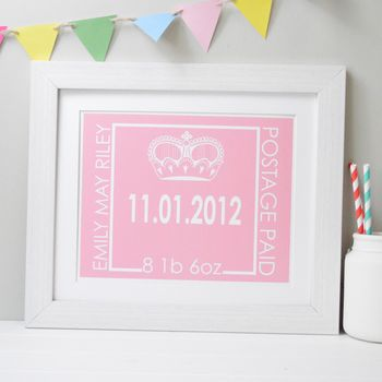 New Baby Birth Date Personalised Picture