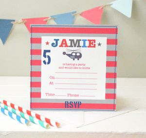 Boy's Personalised Party Invitations