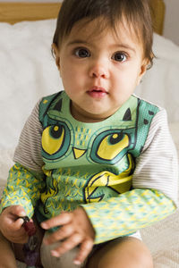 Child's Wipe Clean Long Sleeve Striped Owl Top