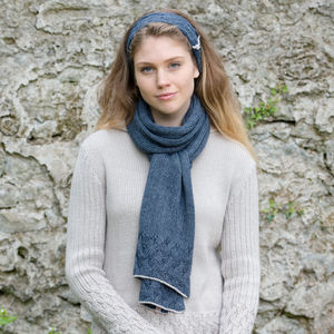Alpaca Cable Knit Long Scarf - scarves