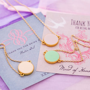 Set Of Three Enamel Thank You Bridesmaid Necklaces