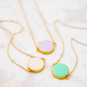 Colourful Enamel Coin Necklace - summer sale