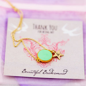 Enamel Coin Thank You Bridesmaid Necklace