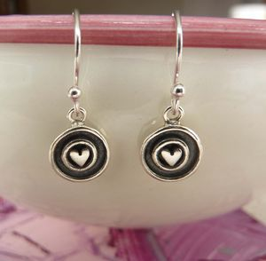 Silver Heart Circle Drop Earrings