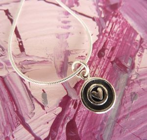 Silver Heart Circle Necklace