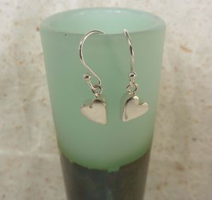 Silver Chunky Heart Drop Earrings