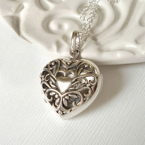 Sterling Silver Filigree Heart Locket